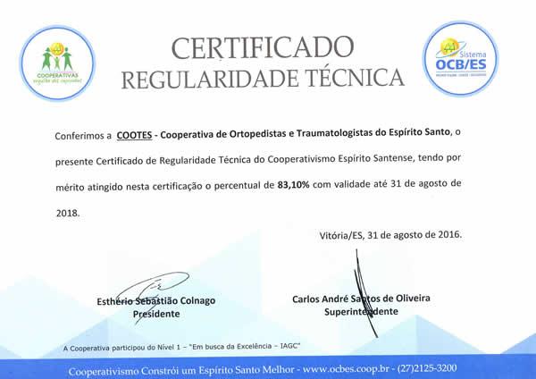 Certificado de Regularidade Técnica 2018
